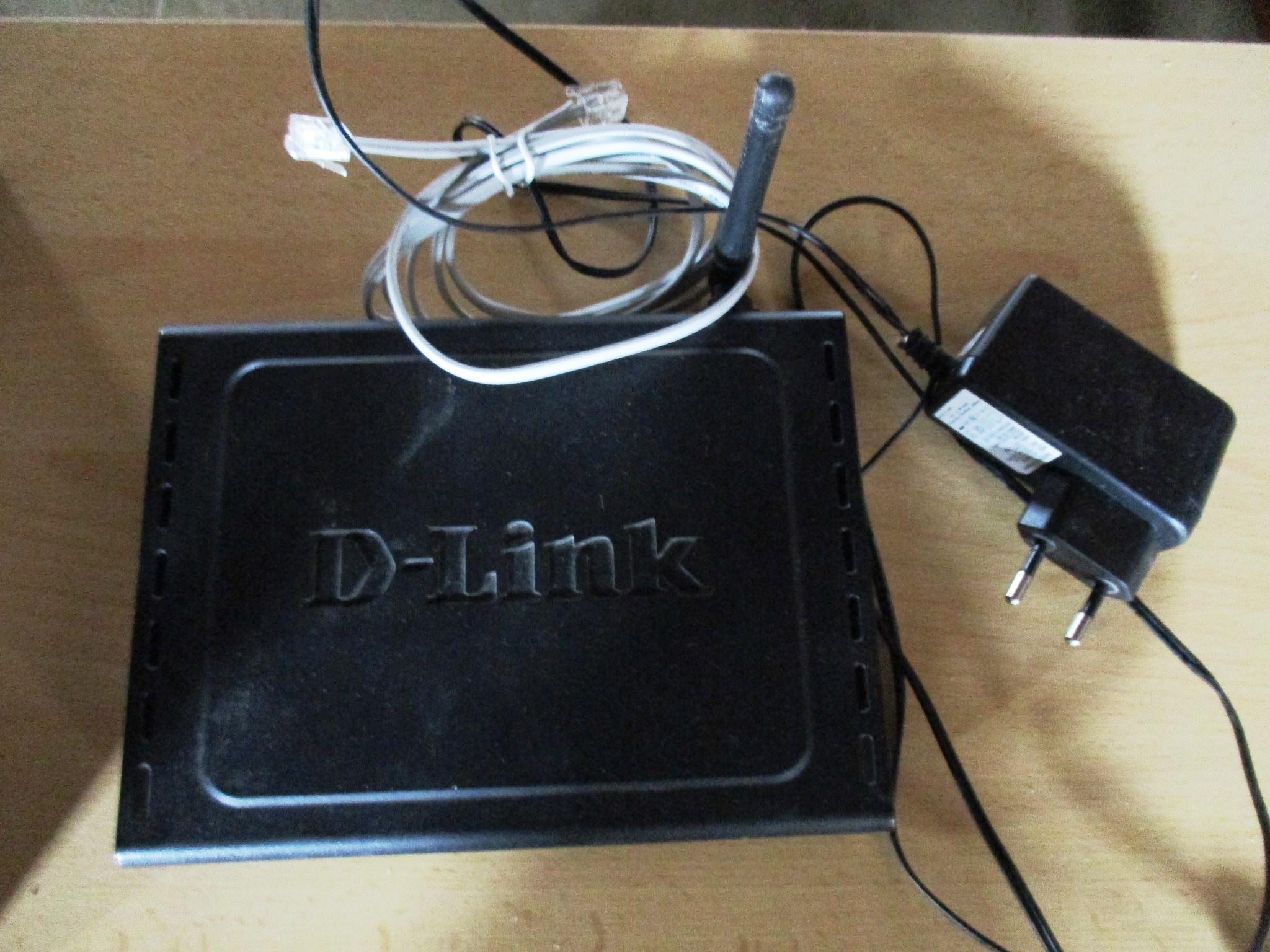 Роутер D-link, чорного кольору, с/н PJ1A198017845 із зарядним пристроєм та кабелем для підключення, б/к.