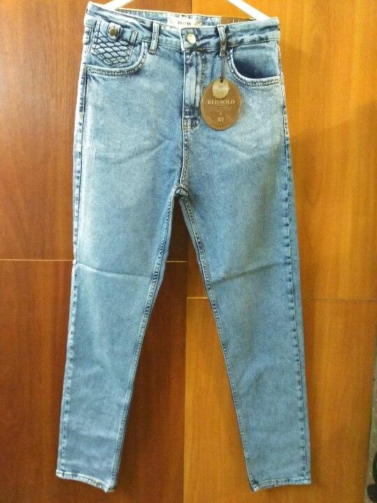 Штани джинсові, жіночі, синього кольору, різних розмірів, іноземного виробництва у кількості 12 шт