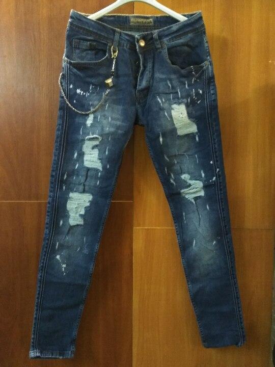 Штани джинсові, чоловічі, синього кольору, іноземного виробництва у кількості 8 шт