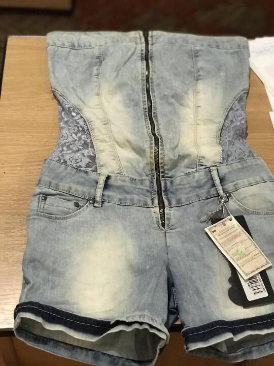 Жіночі брюки-комбінізон, джинсові, виробник «BlakOKCHIO», синього кольору, 1 шт., , стан: новий