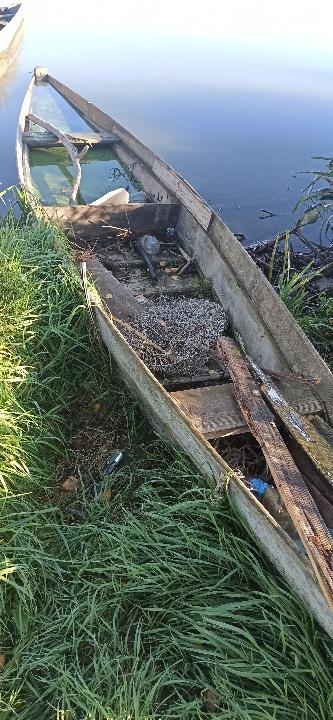 Дерев'яний човен з одним веслом