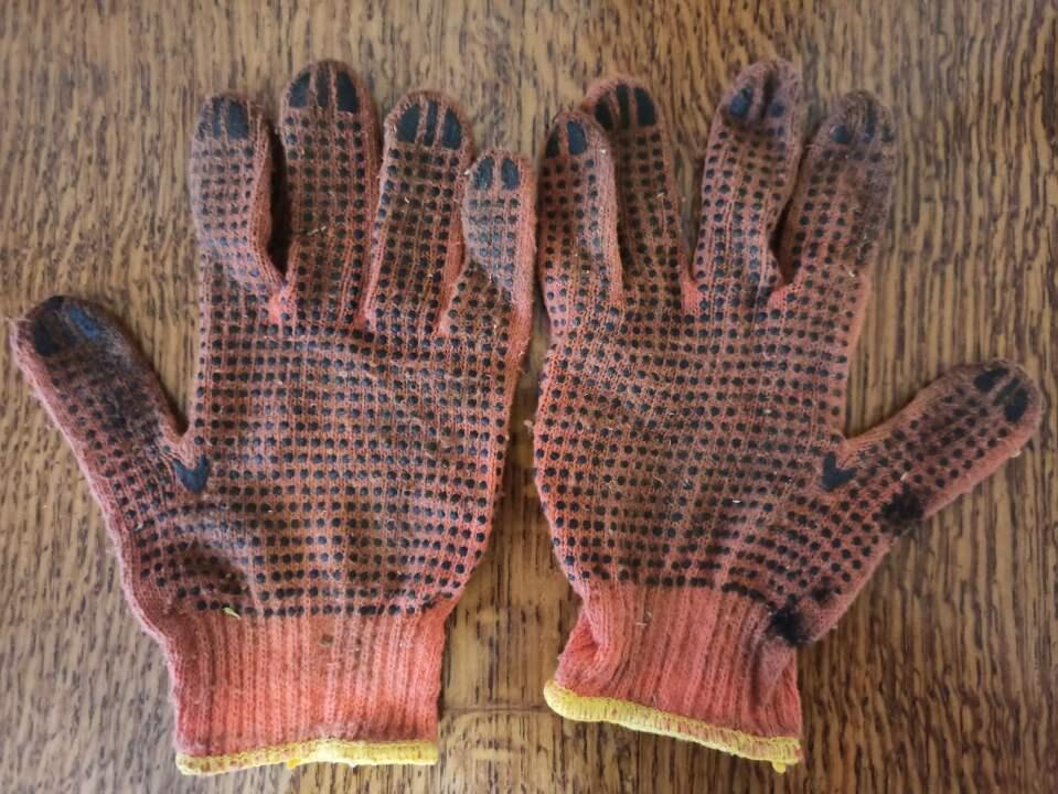 Рукавиці господарські, тканинні, оранжевого кольору