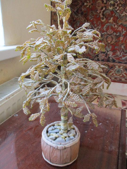 Дерево з бісеру ручної роботи, жовтого кольору, Б\К