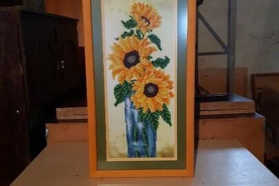 Картина з соняхом (бісер) з жовтою рамкою