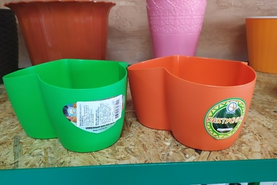 Вазони для кактусів у кількості 2 штук, зеленого та оранжевого кольору, нові