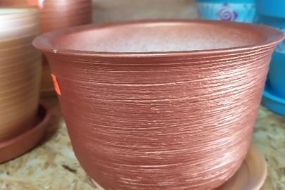 Вазон для квітів керамічний на 1 літр, коричневого  кольору, у кількості 2 штуки,  нові