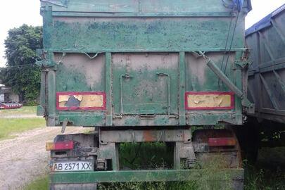 Причіп самоскид–Е СЗАП 8527, 1990 року випуску, реєстраційний номер АВ2571ХХ, зеленого кольору,номер кузова  463188/4301