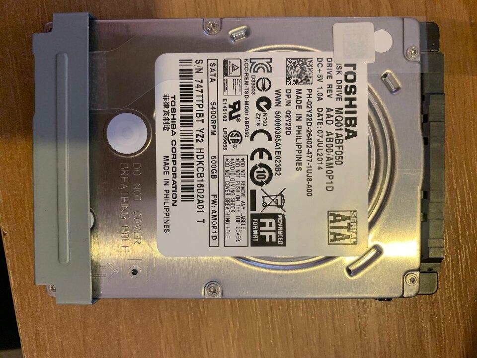 Жорсткий диск Toshiba MQ01ABF0  об'ємом пам'яті 500 GB