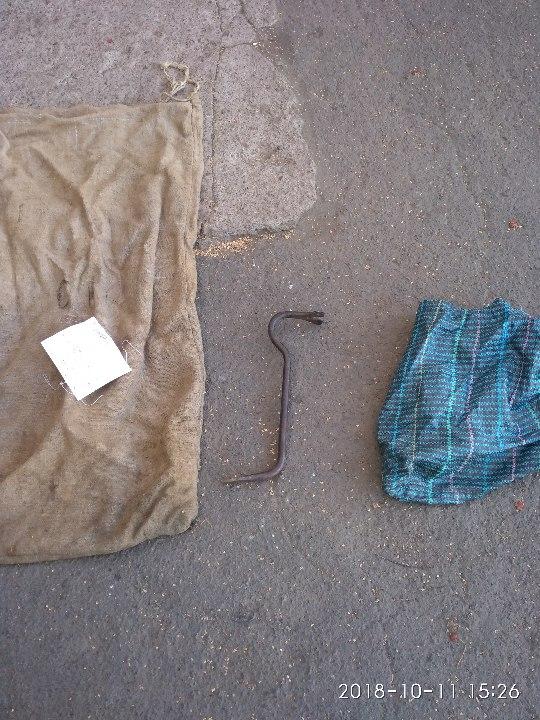Мішок з тканини сірого кольору, господарська сумка, металевий цвяходер