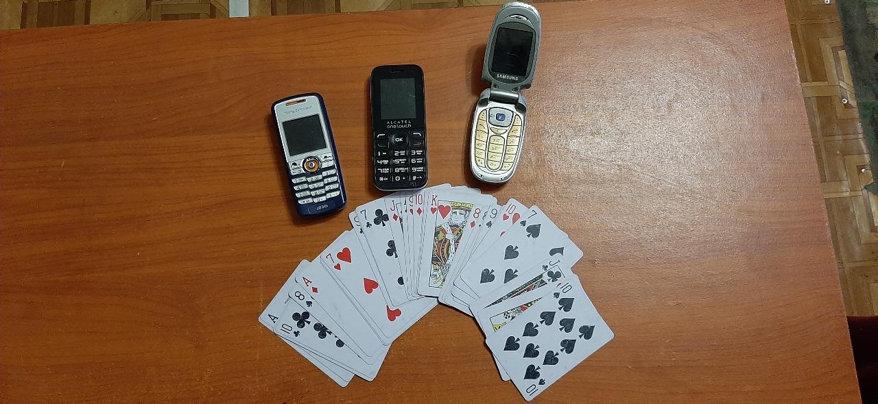 4 поз., б/в: 1.Мобільний телефон Alkatel 101 SB, 2.Мобільний телефон SAMSUNG SGA-X481., 3.Мобільний телефон SONY ERRICSON g230., 4. Гральна колода карт у кількості 1 шт, карти у кількост 30 шт.